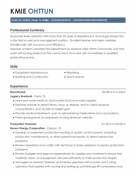 Production Foreman resume template Texas