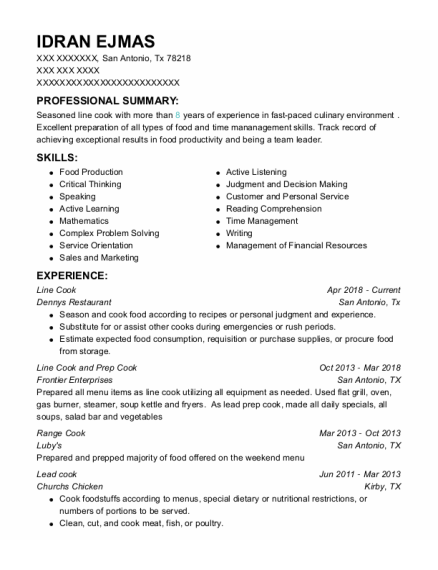 Line cook resume template Texas