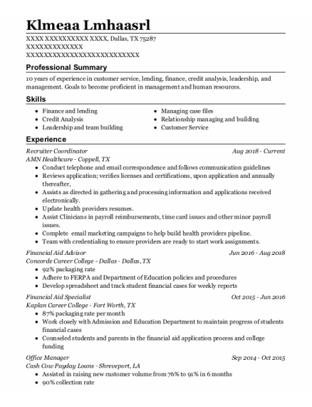 Financial Aid Advisor resume format Texas