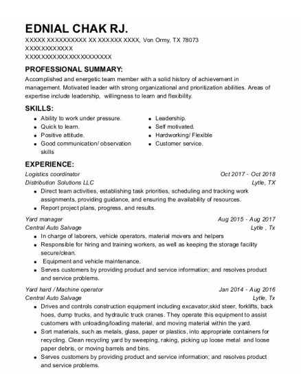 Logistics Coordinator resume template Texas