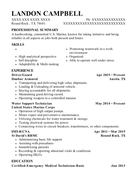 Driver resume format Texas