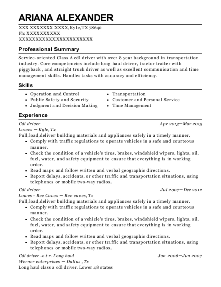 Cdl driver resume template Texas