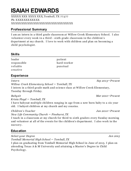 Intern resume example Texas