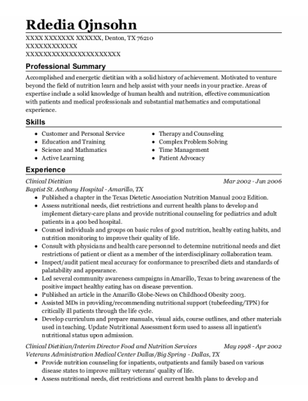 Clinical Dietitian resume example Texas