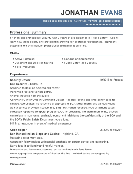 Security Officer resume format Texas