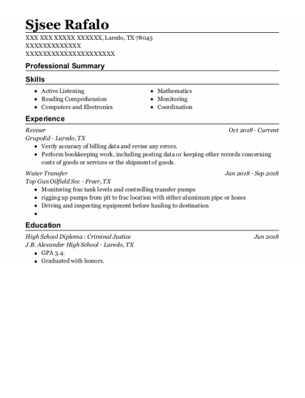 Water Transfer resume example Texas