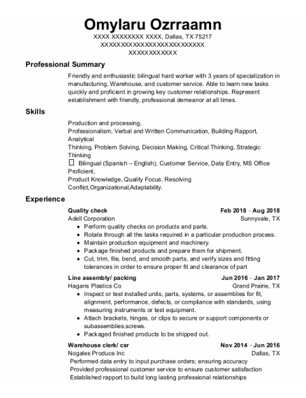 Quality Check resume format Texas