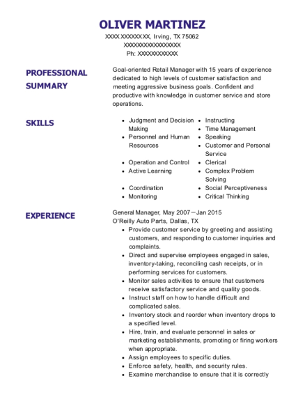 General Manager resume example Texas