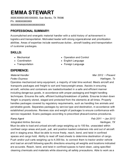 Material Handler resume sample Texas