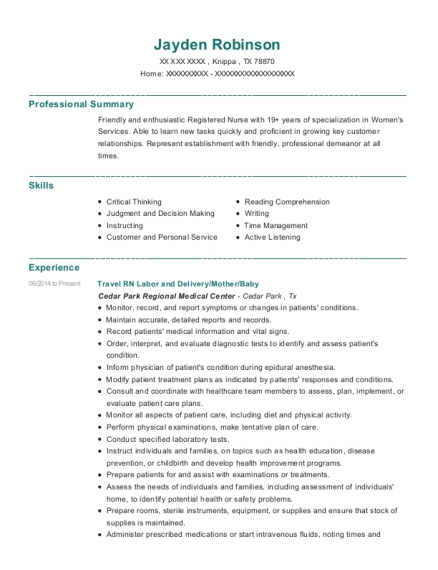 Travel RN Labor and Delivery resume template Texas