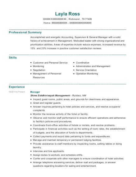 Manager resume template Texas
