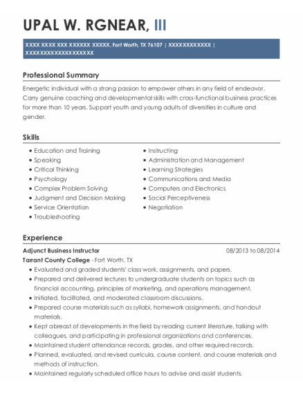 Youth Director resume example Texas
