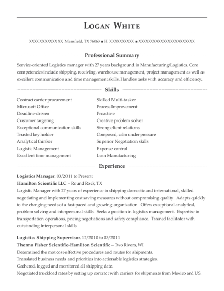 Logistics Manager resume format Texas