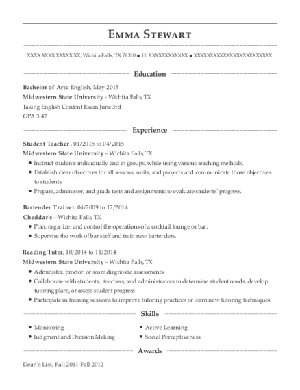 Student Teacher resume example Texas