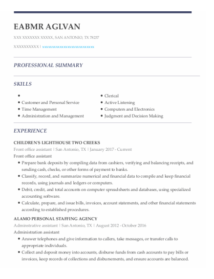 Front Office Assistant resume example Texas
