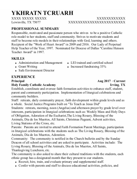 Principal resume template Texas