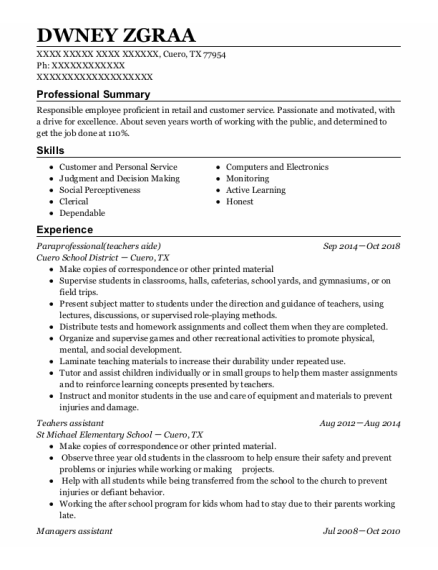 Managers Assistant resume template Texas