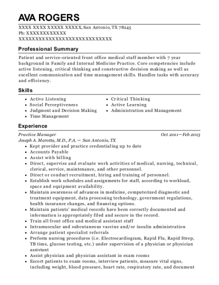 Practice Manager resume sample Texas