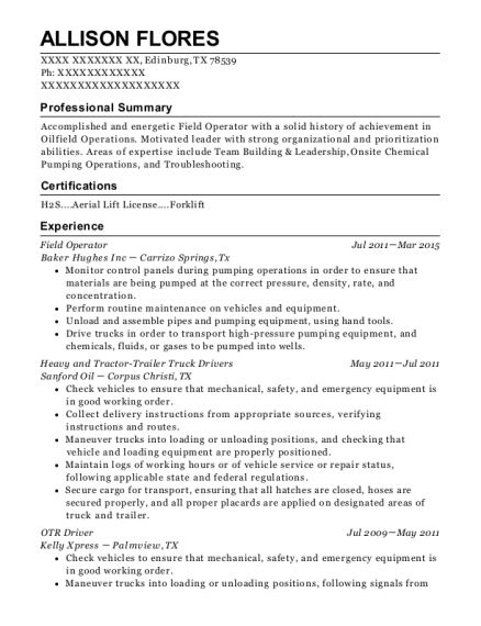 Field Operator resume template Texas
