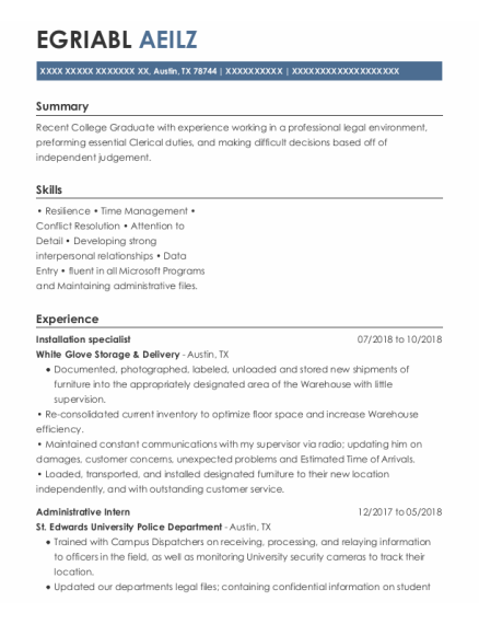 Installation Specialist resume sample Texas
