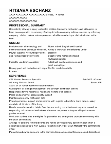 Recruiting Assistant resume format Texas