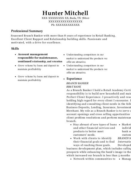 BRANCH BANKER resume sample Texas