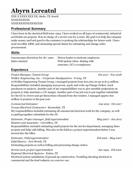 Project Manager resume example Texas