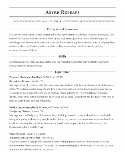Promoter resume example Texas