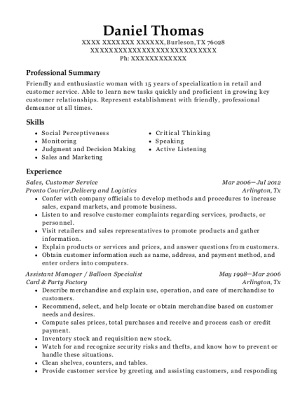 Sales resume format Texas