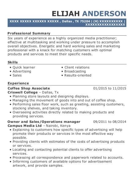 Coffee Shop Associate resume example Texas