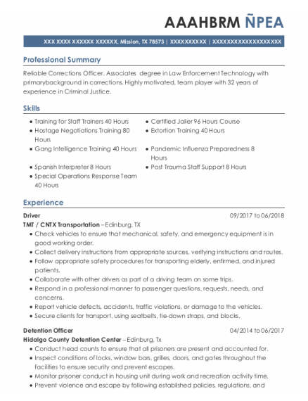 Driver resume example Texas
