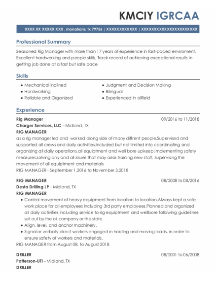 Rig Manager resume sample Texas