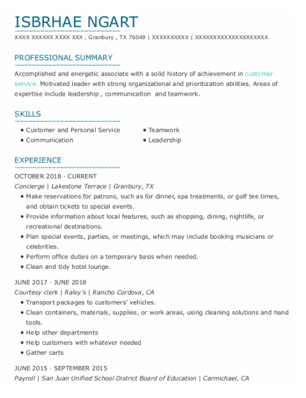 Concierge resume sample Texas