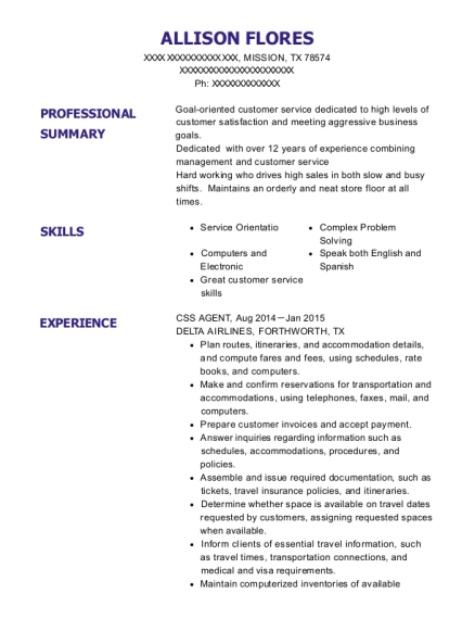CSS AGENT resume template Texas
