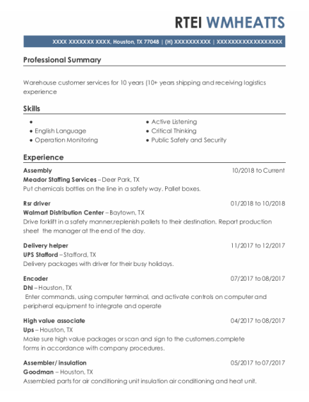 Assembly resume template Texas