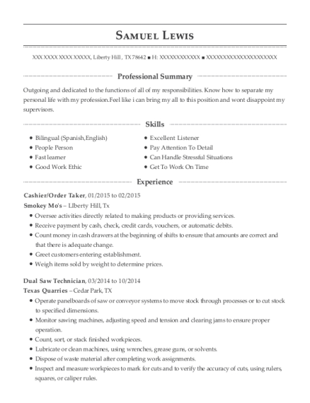 Cashier resume template Texas