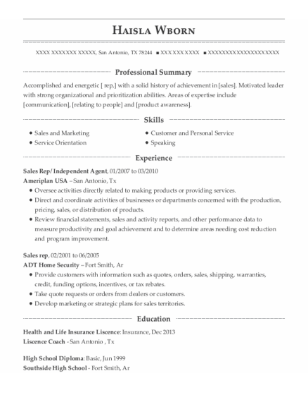Sales Rep resume format Texas