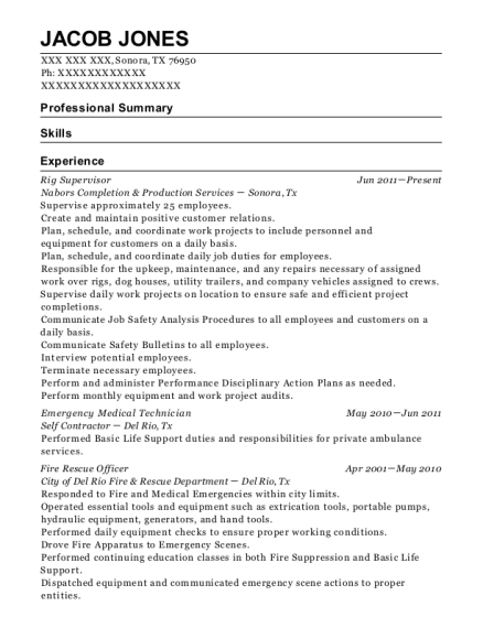 Rig Supervisor resume sample Texas