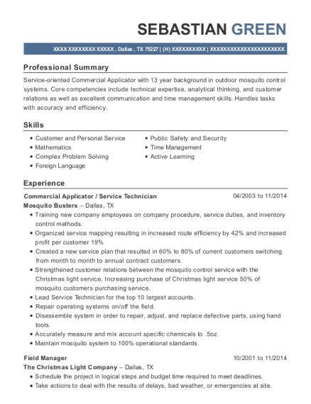 Commercial Applicator resume template Texas