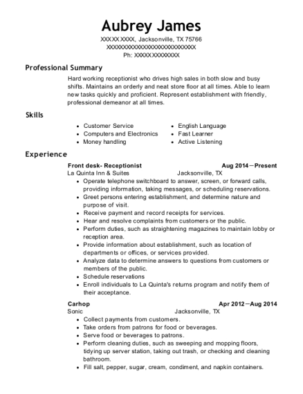Front desk Receptionist resume template Texas