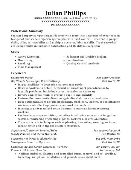 Owner resume example Texas