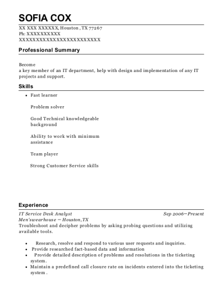 IT Service Desk Analyst resume format Texas