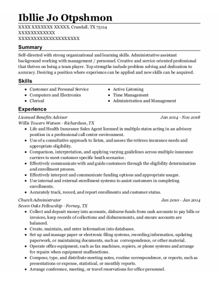Admissions Director resume format Texas