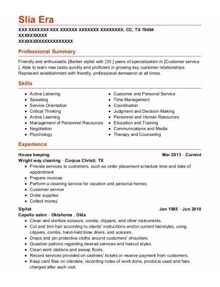 House Keeping resume example Texas