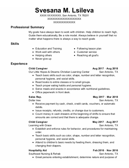 Child Caregiver resume template Texas