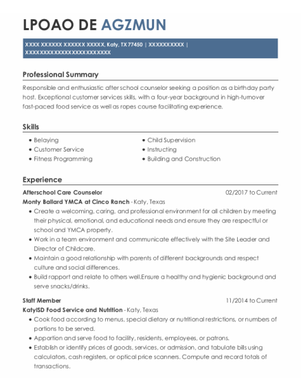 Staff Member resume format Texas