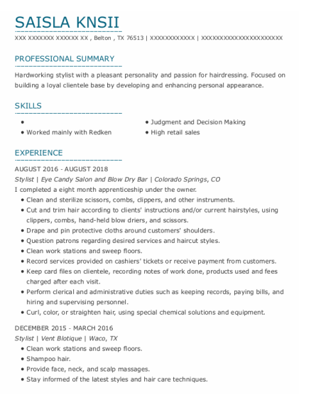 Stylist resume template Texas