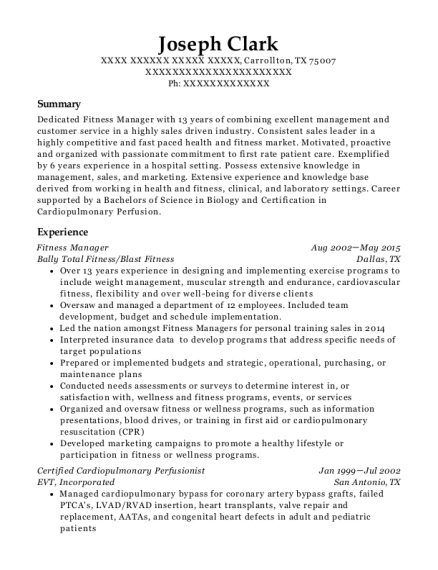 Fitness Manager resume example Texas