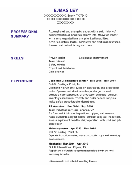 Lead Man resume format Texas