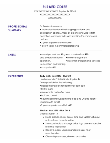 Body Tech resume format Texas